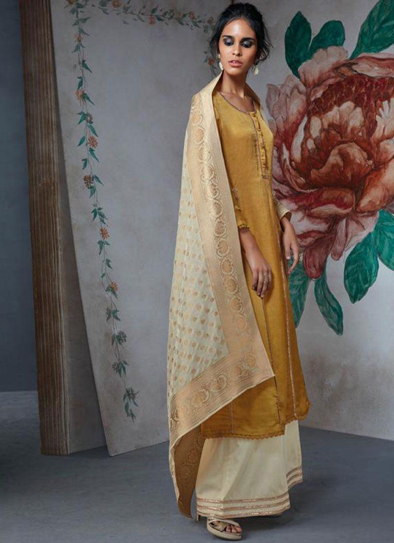 Lace Satin Salwar Suit in Mustard