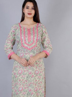 Lace Sea Green Casual Kurti