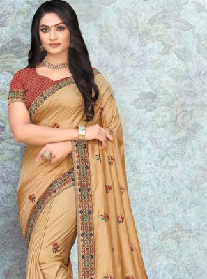 Lace Silk Designer Saree in Gold