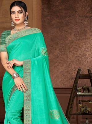 Lace Silk Designer Saree in Green