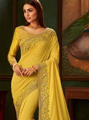 Lace Silk Designer Traditional Saree in Yellow