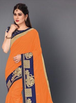 Lace Silk Orange Contemporary Style Saree