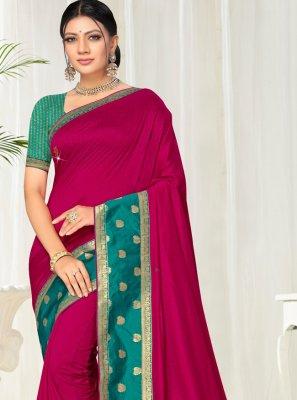 Lace Silk Pink Classic Saree