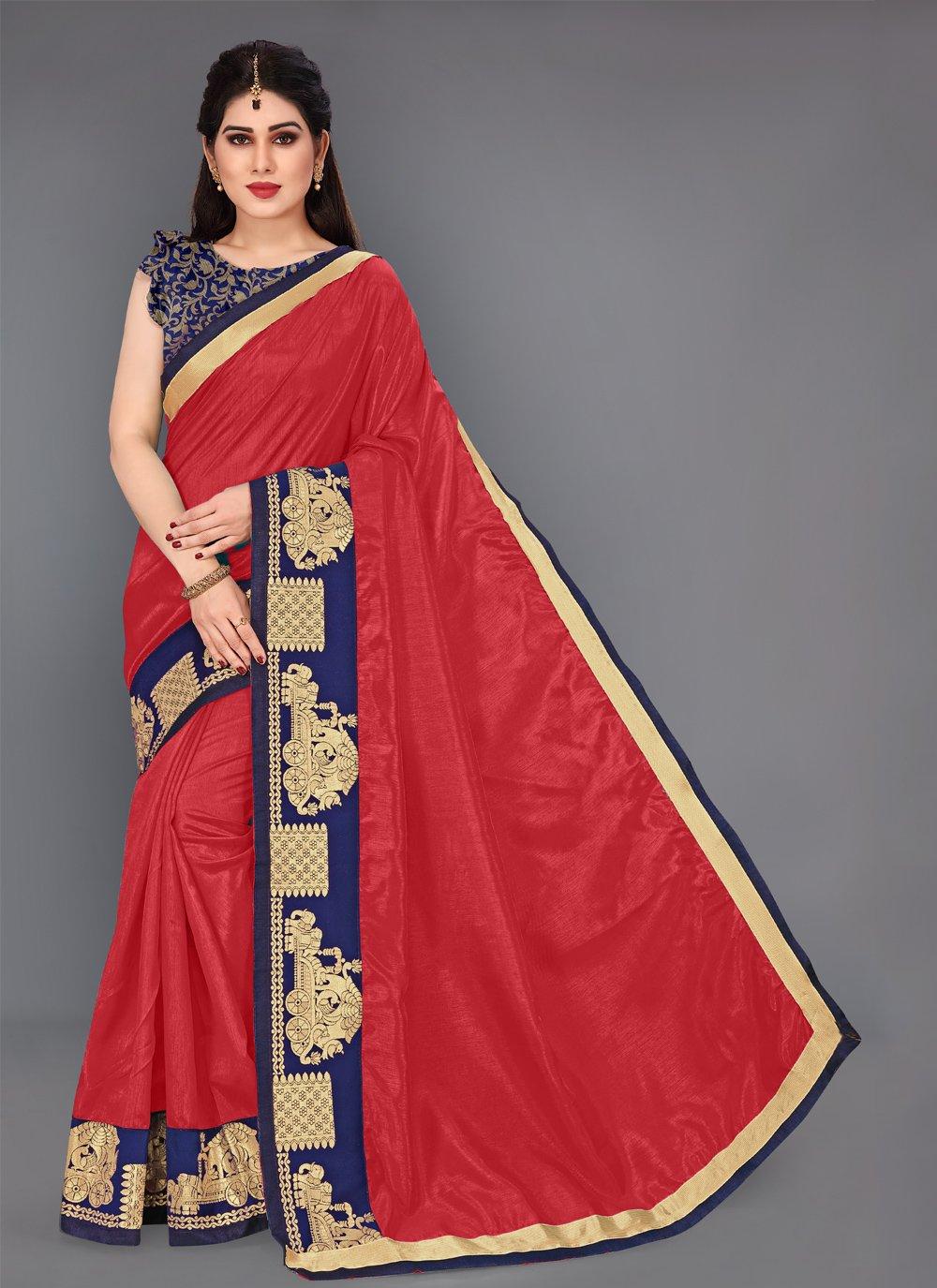 Lace Silk Red Classic Saree