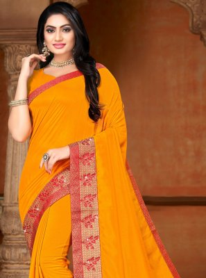 Lace Silk Traditional Saree in Yellow
