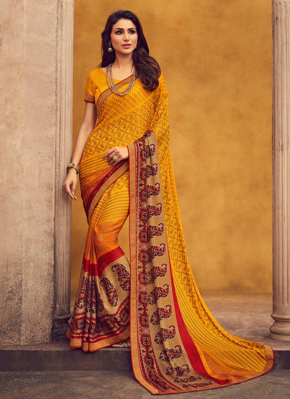 Lace Yellow Classic Designer Saree