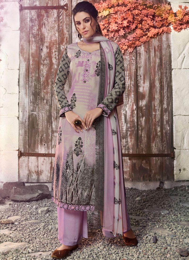Lavender Abstract Print Faux Crepe Designer Pakistani Suit