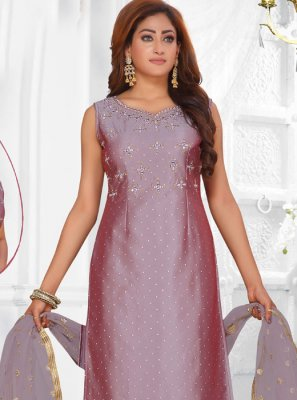 Lavender Art Silk Readymade Suit