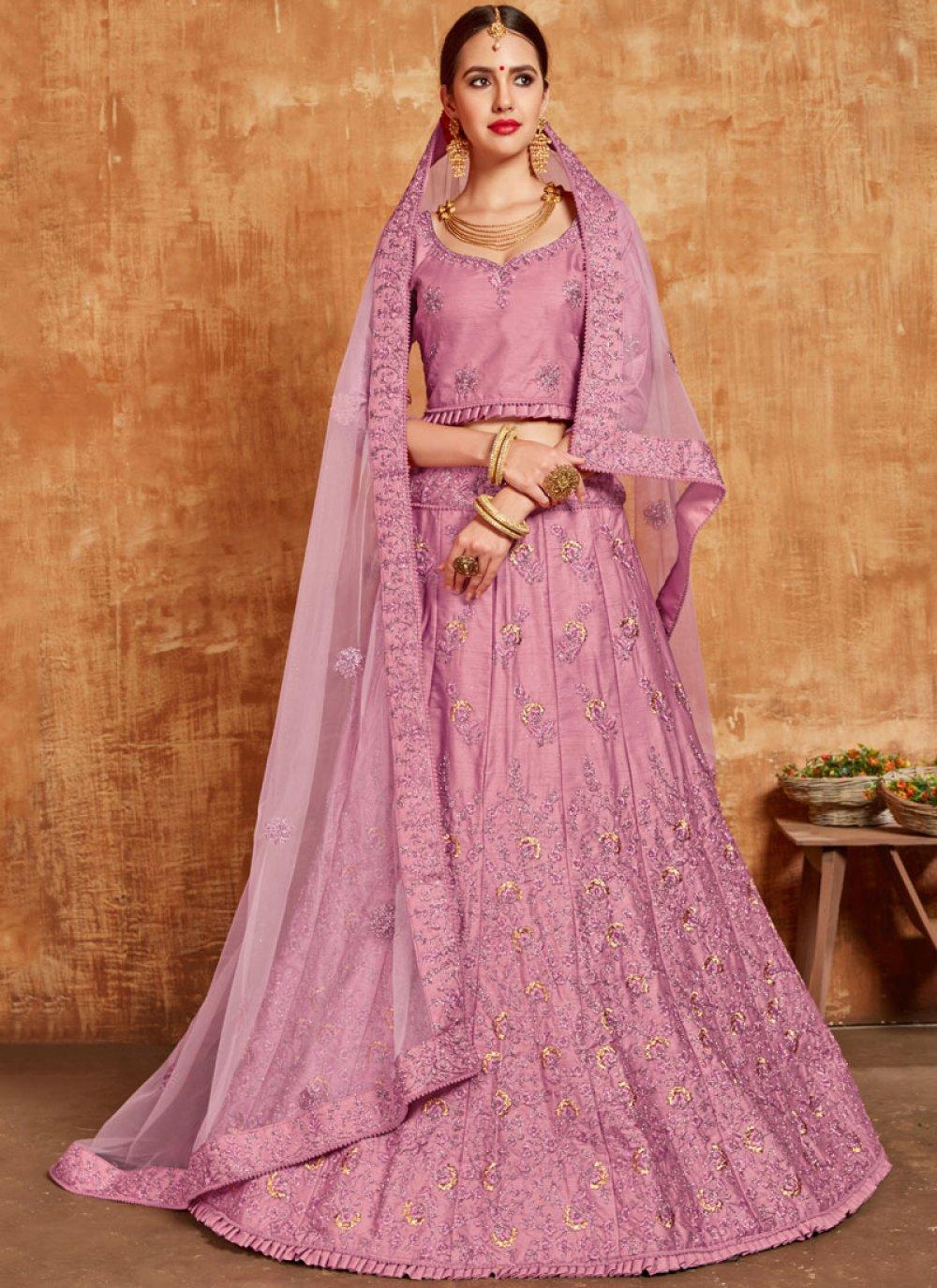Lavender Banglori Silk Wedding Lehenga Choli