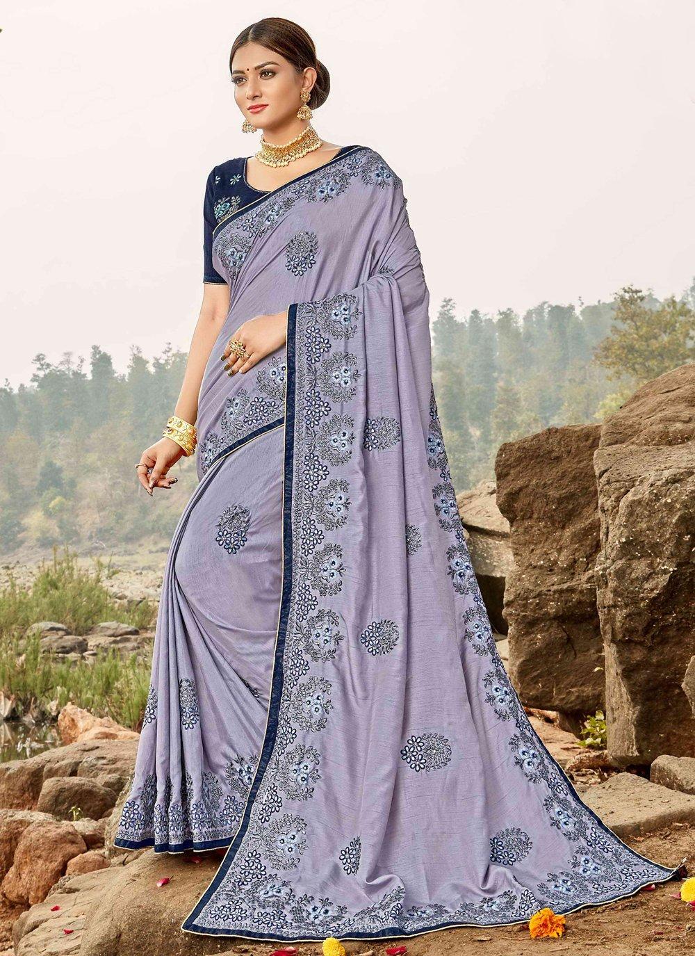 Lavender Ceremonial Trendy Saree