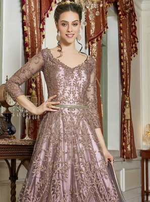 Lavender Embroidered Net Anarkali Salwar Kameez