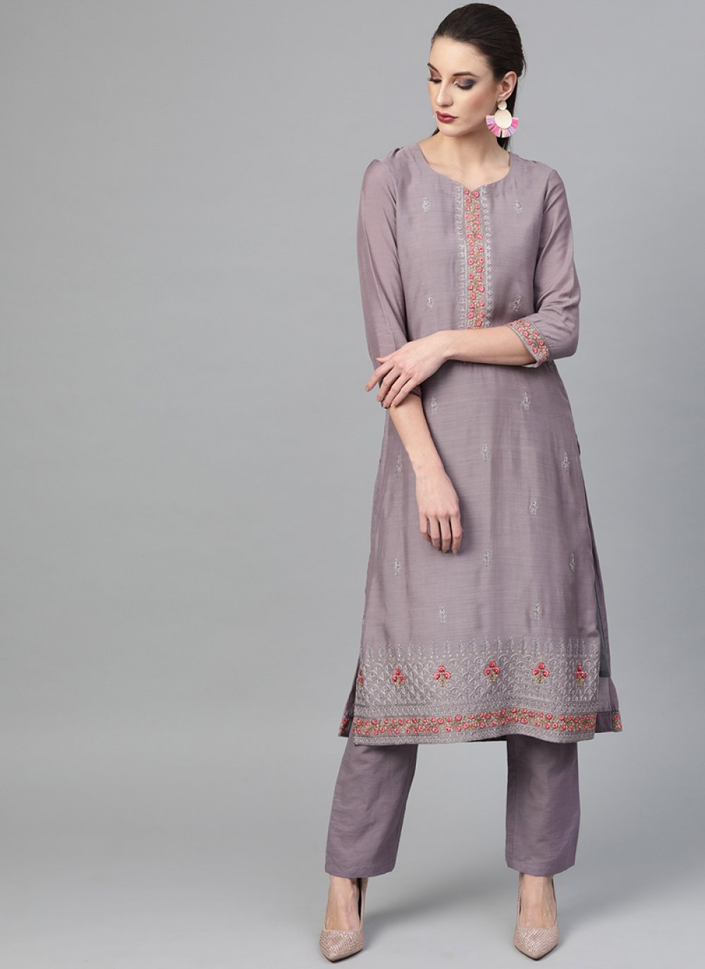 Lavender Embroidered Pant Style Suit