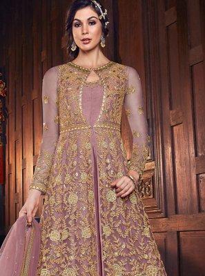 Lavender Net Resham Anarkali Salwar Kameez