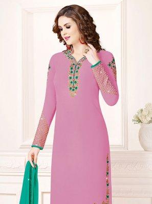 Lavender Party Georgette Designer Salwar Kameez