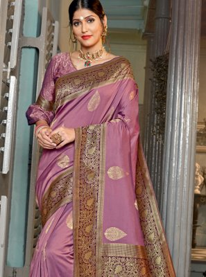 Lavender Party Trendy Saree