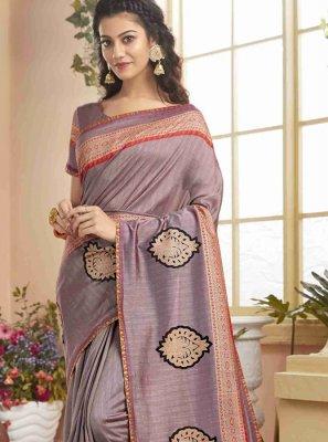 Lavender Print Classic Designer Saree