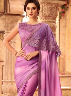 Lavender Resham Art Silk Shaded Saree