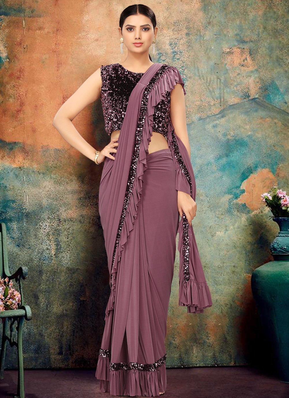 Lavender Sequins Designer Contemporary Saree