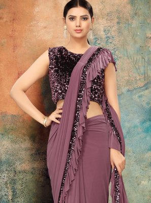 Lavender Sequins Designer Contemporary Saree