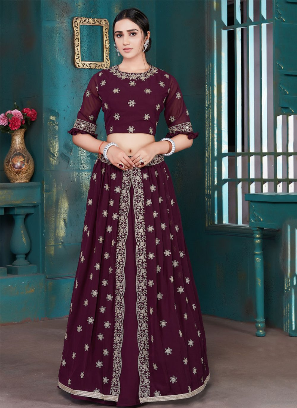 Lehenga Choli Embroidered Georgette in Black