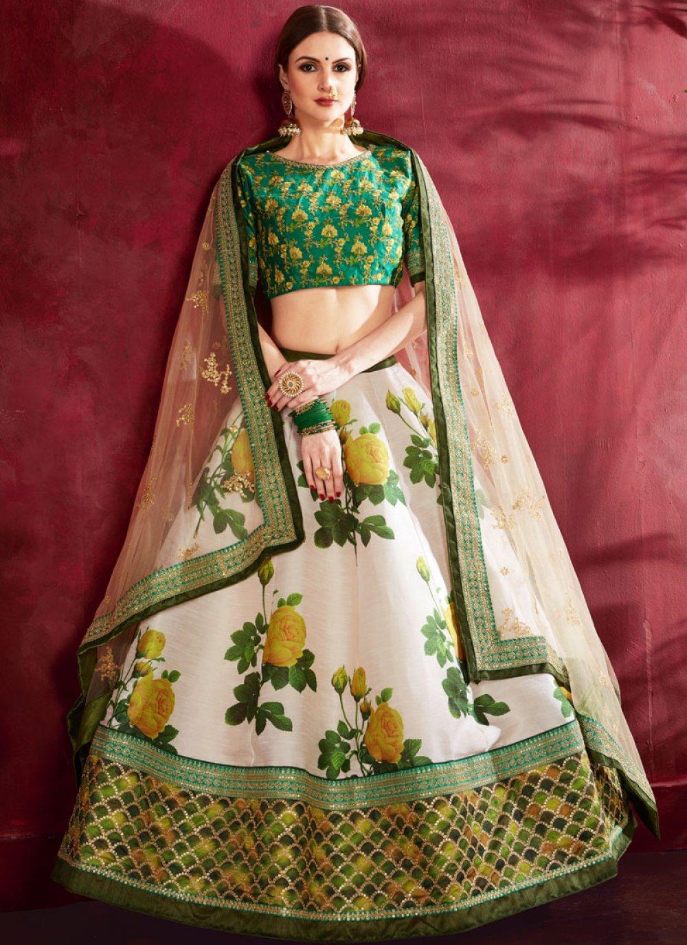 Lehenga Choli Floral Print Banglori Silk in Cream