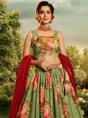 Lehenga Choli Printed Organza in Green