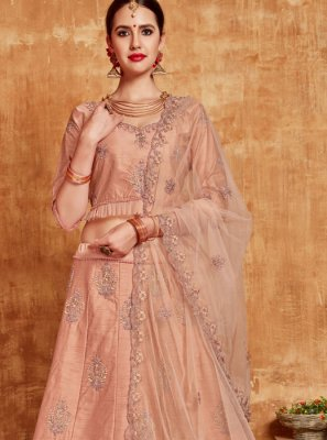 Lehenga Choli Resham Banglori Silk in Peach