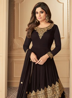 Lehenga Choli Resham Georgette in Brown