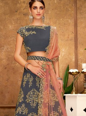 Lehenga Choli Sequins Tafeta Silk in Grey