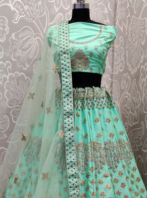 Lehenga Choli Zari Satin Silk in Aqua Blue