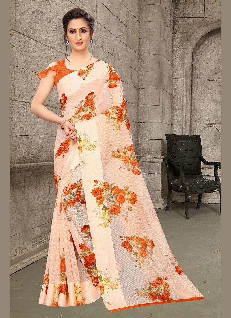 Linen Abstract Print Multi Colour Printed Saree