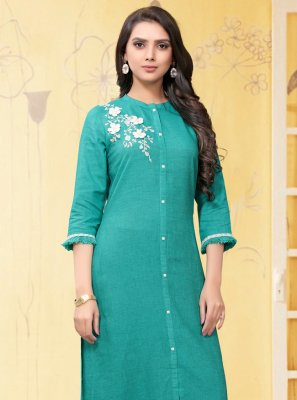 Linen Aqua Blue Embroidered Casual Kurti