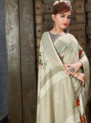 Linen Beige and Cream Classic Saree