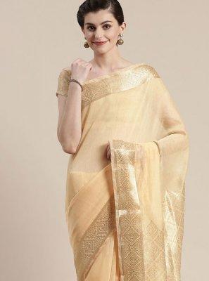 Linen Beige Classic Saree