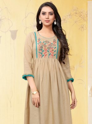 Linen Beige Embroidered Casual Kurti