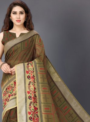 Linen Brown Printed Casual Saree