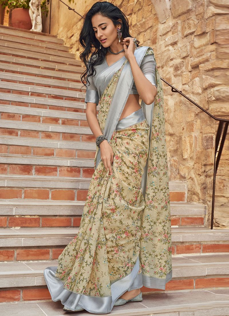 Linen Classic Saree in Beige