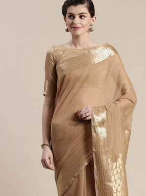 Linen Classic Saree in Brown