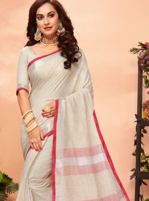 Linen Cream Woven Casual Saree