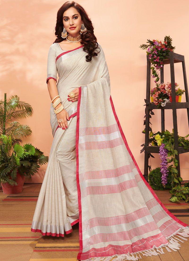 Linen Cream Woven Casual Saree