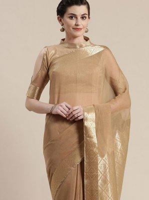 Linen Designer Saree in Brown