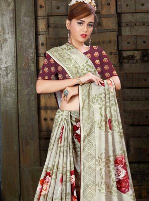 Linen Digital Print Printed Saree