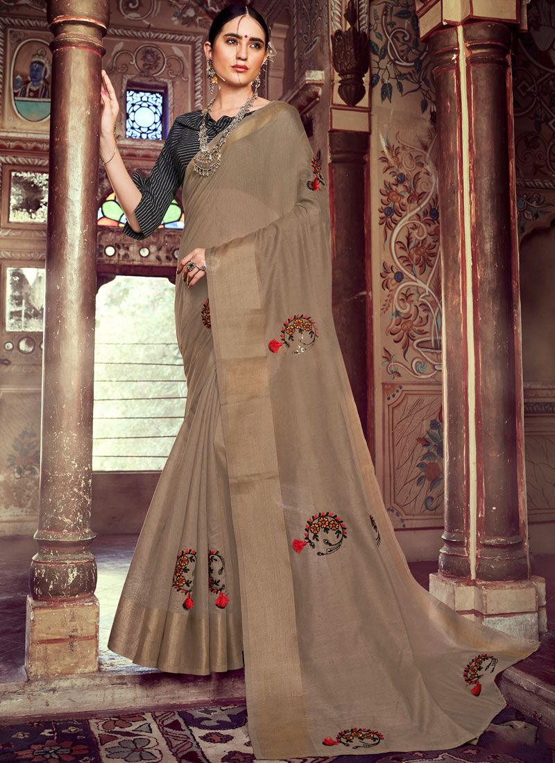 Linen Embroidered Brown Casual Saree