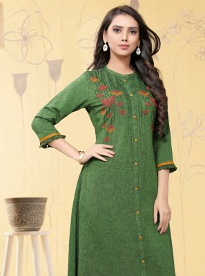 Linen Embroidered Green Party Wear Kurti