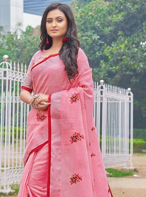 Linen Embroidered Pink Casual Saree