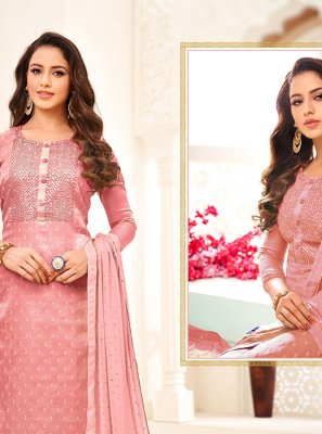 Linen Embroidered Pink Churidar Salwar Suit