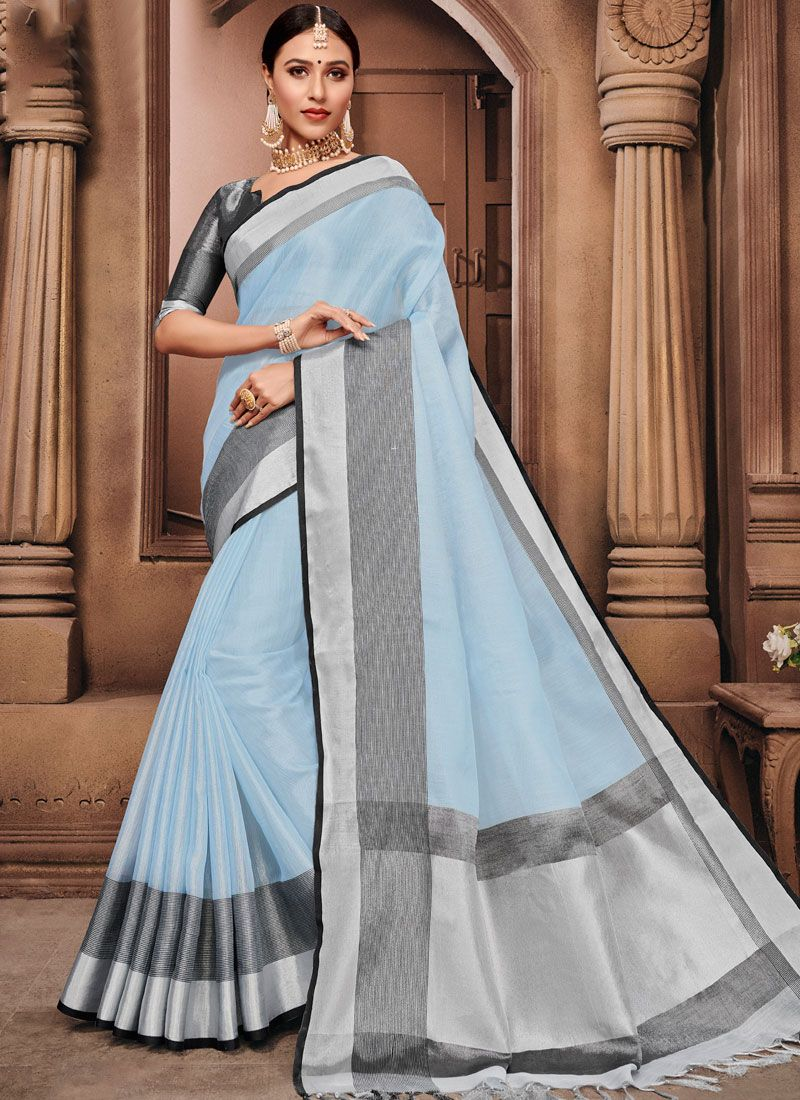 Linen Fancy Blue Classic Designer Saree