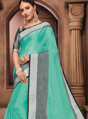Linen Fancy Blue Saree