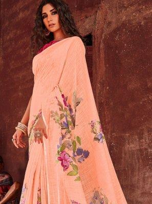 Linen Floral Print Designer Saree in Peach
