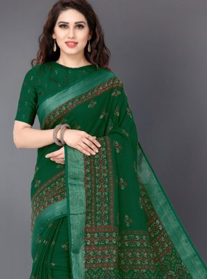 Linen Green Printed Printed Saree